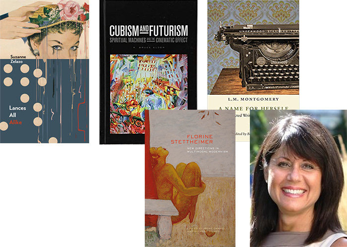 Collage of book covers and portrait of Ruth Panofsky