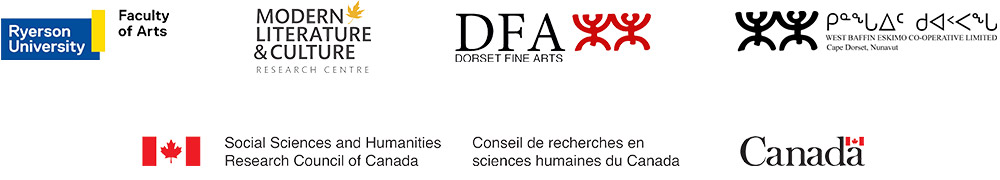 Ryerson University logo, Modern Literature & Culture Research Centre logo, Dorset Fine Arts logo, West Baffin Eskimo Co-operative Limited logo, Social Sciences and Humanities Research Council of Canada logo