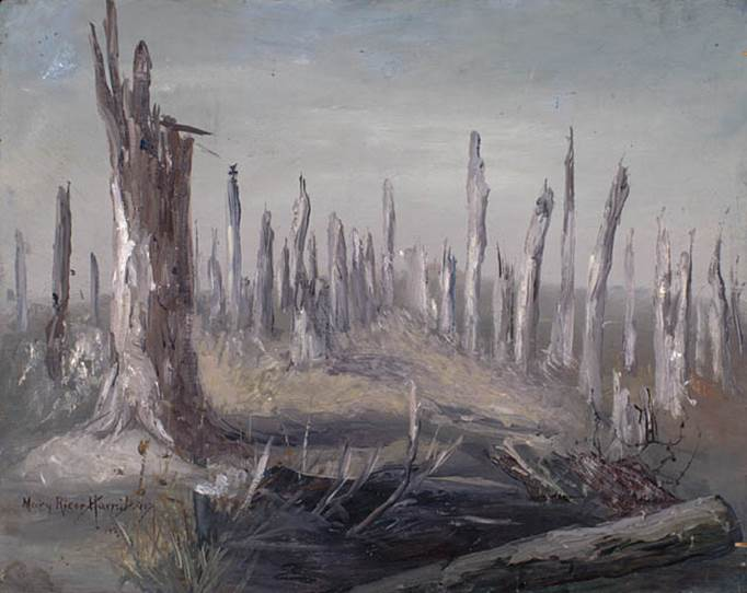 Mary Riter Hamilton, Sanctuary Wood, Flanders, 1920. Oil on plywood. 59.1 cm x 45.7 cm. Library and Archives Canada.